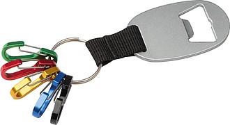 Přívěšek na klíče s otvírákem a 5 barevnými karabinkami