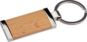 Kovový přívěšek na klíče s dřevěnou částí