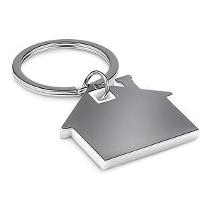 Přívěsek na klíče ve tvaru domu z nerezu a ABS plastu, bílá
