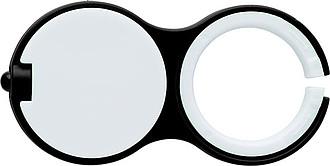 Plastový přívěsek na klíče s LED světýlkem, černý