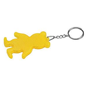 Reflexní klíčenka ve tvaru medvěda,žlutá