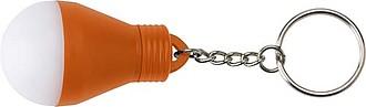 ROGAO Přívěšek na klíče ve tvaru žárovky, svítící, oranžová
