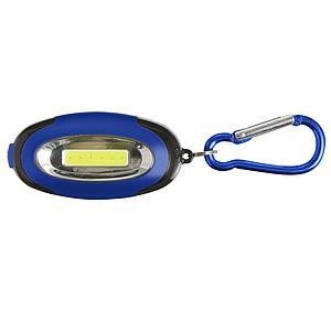 NATAŠA Přívěsek na klíče s karabinou a 6 LED, modrý