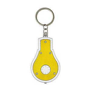 POZUELO Přívěšek na klíče ve tvaru žárovky s LED světlem, žlutá