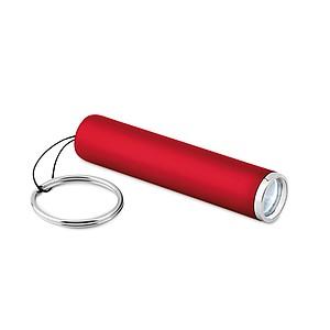 ARENTA Svítilna s ABS povrchem, LED světlem a kroužkem na klíče, červená