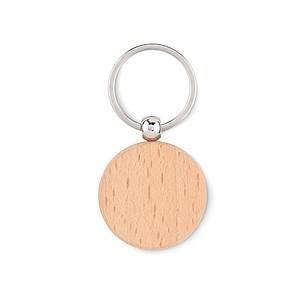 Dřevěný kulatý přívěsek na klíče