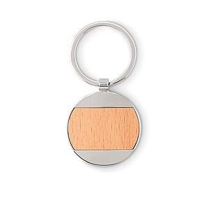 Kulatý přívěsek na klíče ze dřeva a kovu