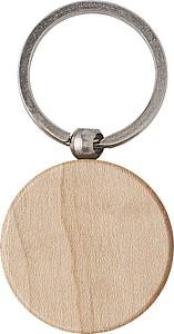 Dřevěný přívěšek na klíče, kulatý