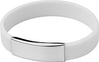 Silikonový náramek s kovovou destičkou, bílý