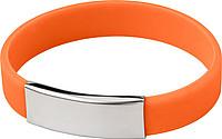 Silikonový náramek s kovovou destičkou, oranžový