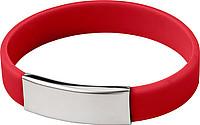 Silikonový náramek s kovovou destičkou, červený