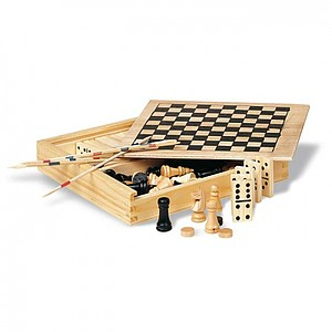 KASPAROV Sada 4 společenských her, domino, šachy, mikado, dáma