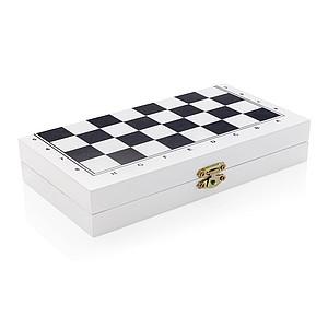Desková hra 3 v 1 v dřevěné krabičce, bílá