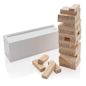 Skládací věž z dřevěných kvádrů, bílá