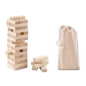 Dřevěná hra věž v bavlněném sáčku, 54 kostek