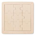 Dřevěné puzzle, 9 dílků, světle hnědá