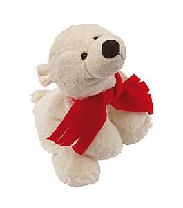 Plyšový lední medvěd s červenou šálou