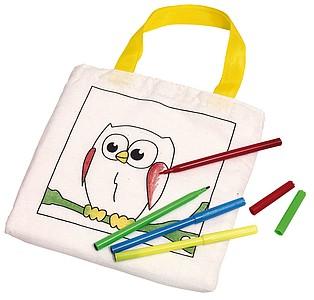 Malá bavlněná taška s obrázkem a pastelkami