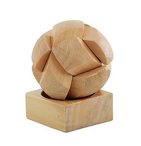 Hlavolam, dřevěný, skládací do koule