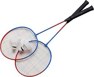 Sada na badminton, dvě rakety a dva košíky v černém obalu