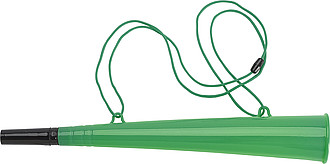 Plastová fandící trumpetka se šňůrkou, zelená