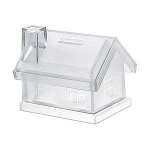 Plastová pokladnička ve tvaru domečku, transparentní