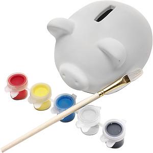 GORET Pokladnička prasátko s pěti barvami a štětcem