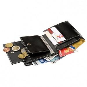 Prostorná kožená peněženka, černá