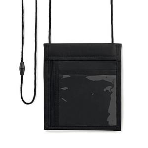 Peněženka k zavěšení na krk s několika přihrádkam, černá
