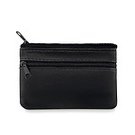 Kožená peněženka s předními kapsami na zip a kroužkem na klíče uvnitř, černá