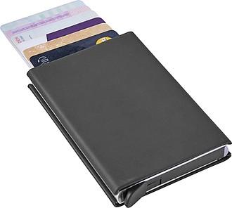 ZINDER Hliníkový obal na karty, RFID ochrana, pogumované – reklamní peněženka s potiskem