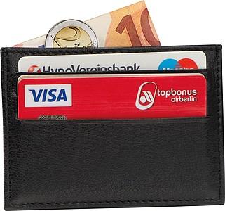 Kožené pouzdro na karty RFID, černá
