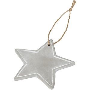Vánoční ozdoba z cementu s konopnou tkaničkou, hvězda