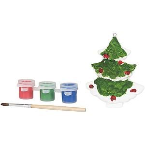 Vánoční baňka ve tvaru stromečku s barvičkami pro vlastní dekoraci