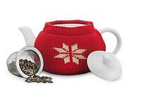 Keramická konvice v norském designu, červená, bílá - reklamní bundy