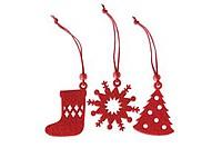 FELTIO Sada 12 ks plstěných vánočních ozdob, červená