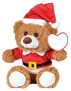 LIMOGES Plyšový medvídek oblečený jako Santa Claus