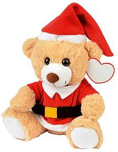 Plyšový světle hnědý medvídek oblečený jako Santa Claus