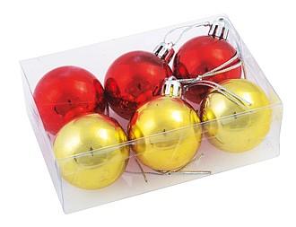 Vánoční baňky, 3 červené a 3 zlaté