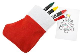 Vánoční punčocha s kreslícím vybavením, červená/bílá