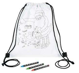 STABA Dětský stahující batoh na domalování: Santa, bílá