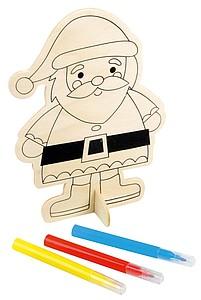 Dřevěná postavička Santa Klause k domalování, béžová