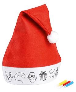 Vánoční čepice s obrázkem, červená/bílá