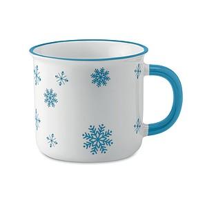 Keramický hrnek 290ml s dekorem sněhových vloček, modrý