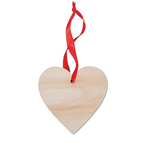 Dřevěná ozdoba ve tvaru srdce