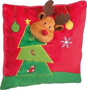 ALAGO Polštářek s vánočním motivem, sob u stromečku