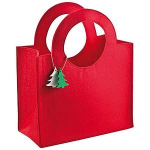 Plstěná taška s přívěškem ve tvaru stromečku, červená