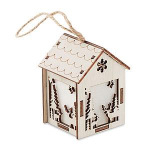 LARETA Dekorační MDF domeček se světlem, s vánočními ornamenty a závěsným provázkem, vč. baterií