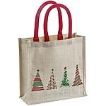 Jutová taška s vánočním dekorem