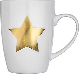 KARBAL Porcelánový hrnek se zlatou hvězdou, v dárkové krabičce, objem 300ml